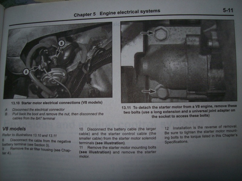 starter motor removal replacement lstech my haynes manual says to remove the starter motor mounting bolts see illustration and remove the starter motor